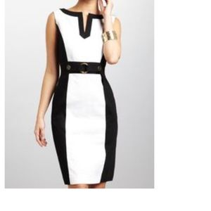 TAHARI BLK & WHITE DRESS SZ 10
